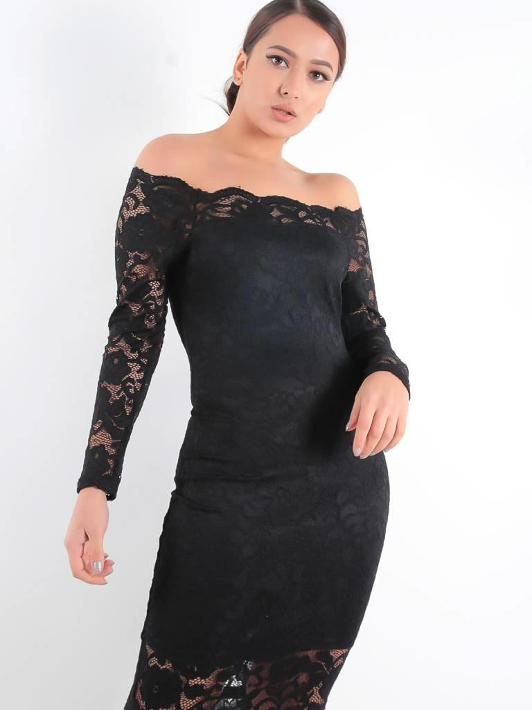 May Lace off shoulder dress black