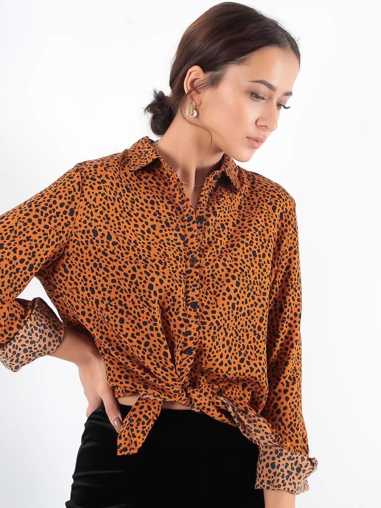 By Clara Cute spot blouse mustard