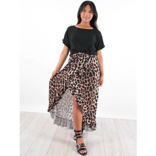 New Collection Ruffle long skirt leopard