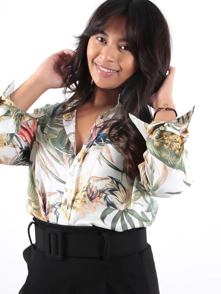 Ivivi Flower print blouse ecru