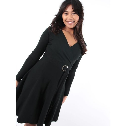 Enzoria Black knit skater dress