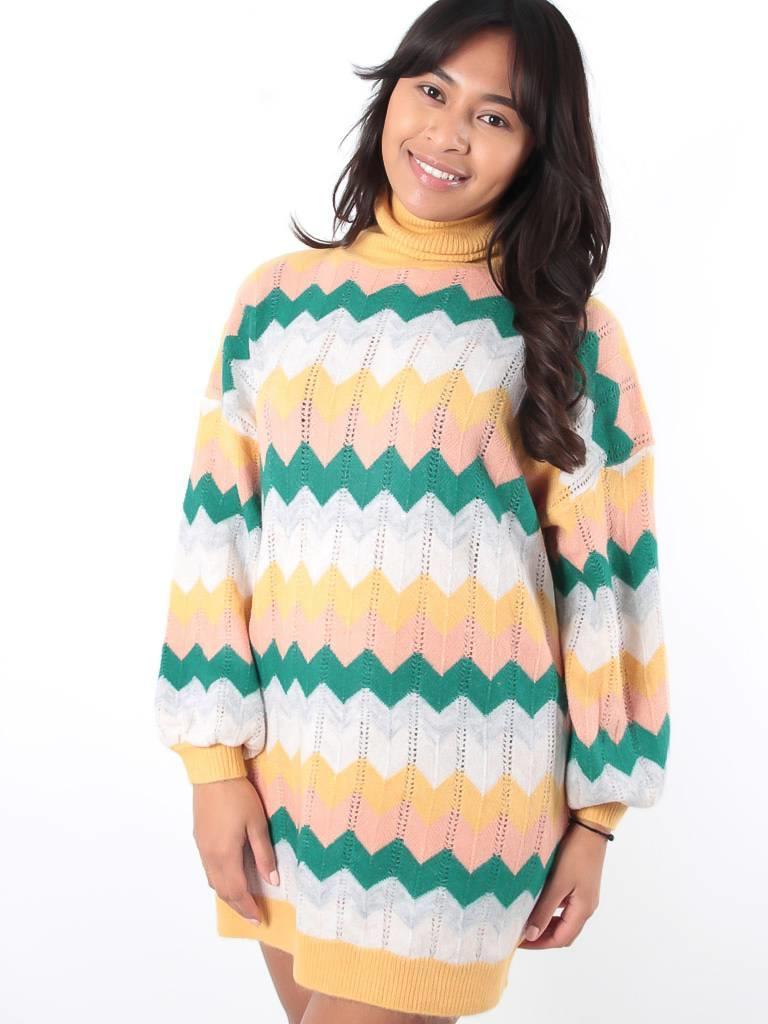 May Zigzag print roll neck jumper dress