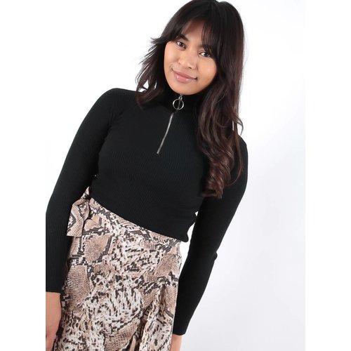 Cherry Koko Black zip detail jumper