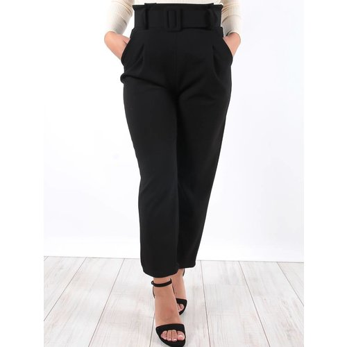 Ladylike Black high waisted belted trousers