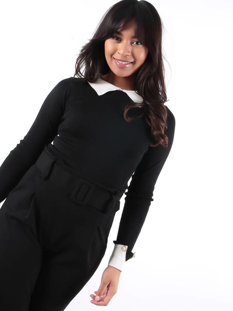 Drôle de Copine Classic black collar jumper