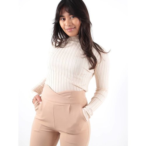 High neck rib knit jumper creme