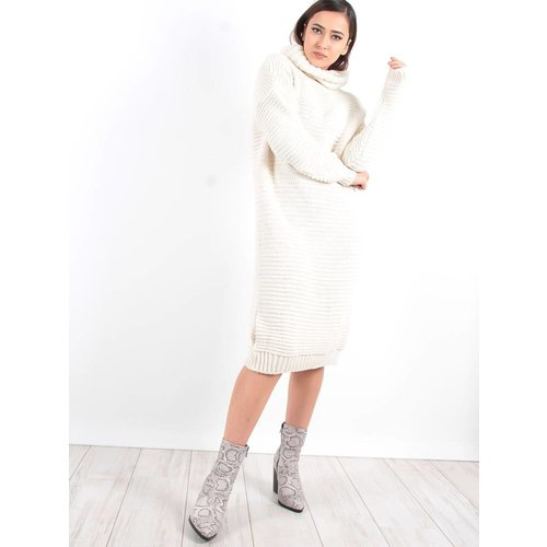 Turqouise by Daan Cream roll neck jumper dress