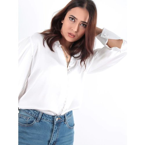 Turqouise by Daan Satin blouse white