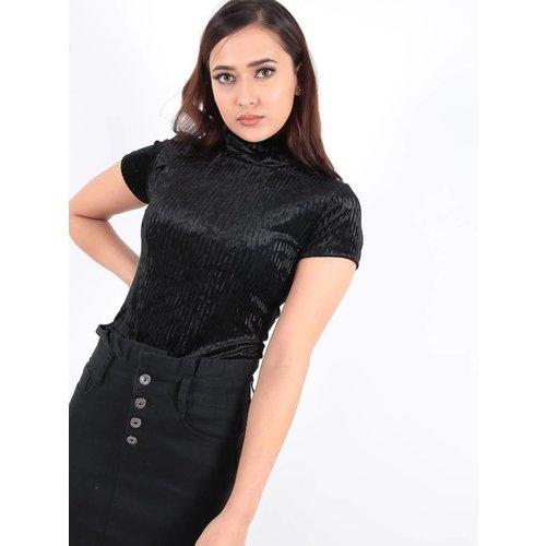 Ladylike Black velvet high neck striped bodysuit
