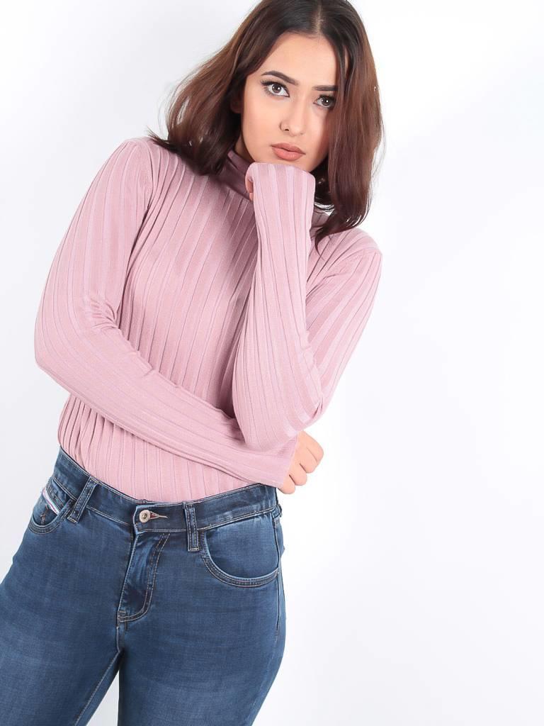 Ambika High neck rib knit jumper dusty pink