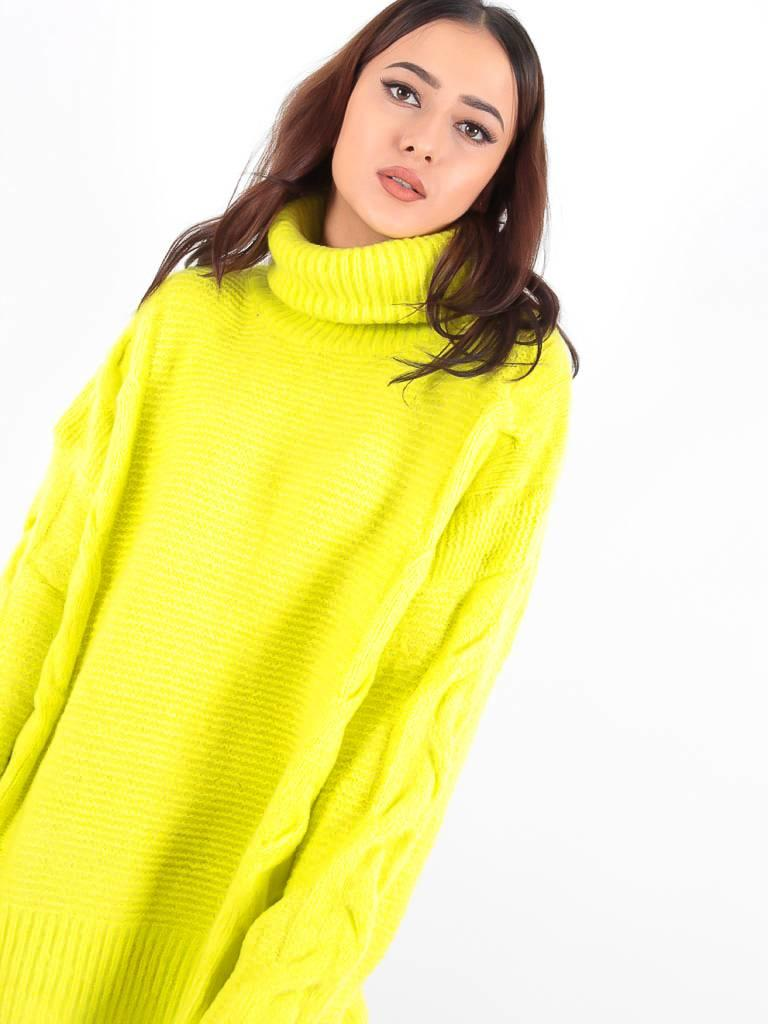 May Neon green roll neck jumper