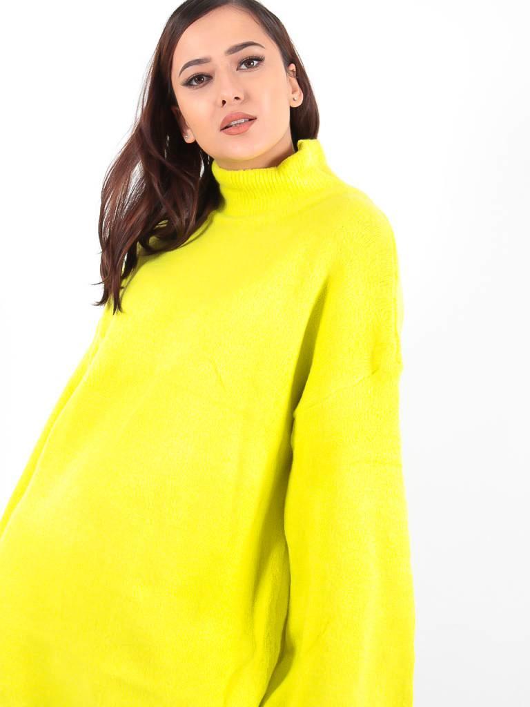 In Vogue Neon roll neck jumper dress