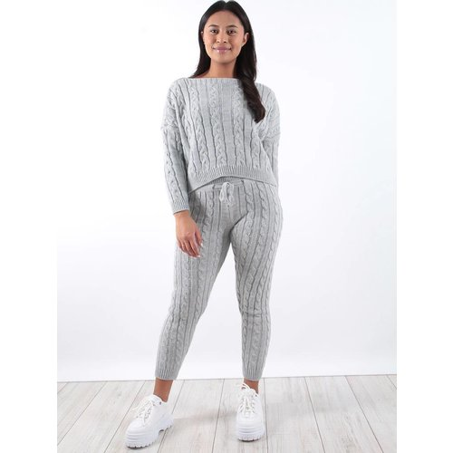 Ladylike Grey cable knit jogger co-ord