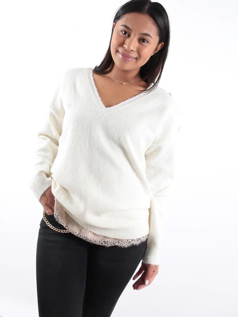 Kilky V neck jumper with button detailing
