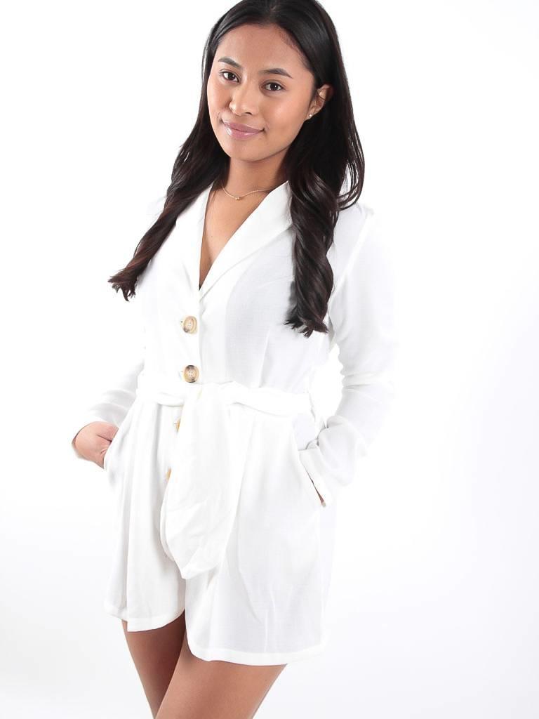 EIGHT PARIS White shorts cotton playsuit