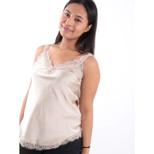 Beige satin lace detail top