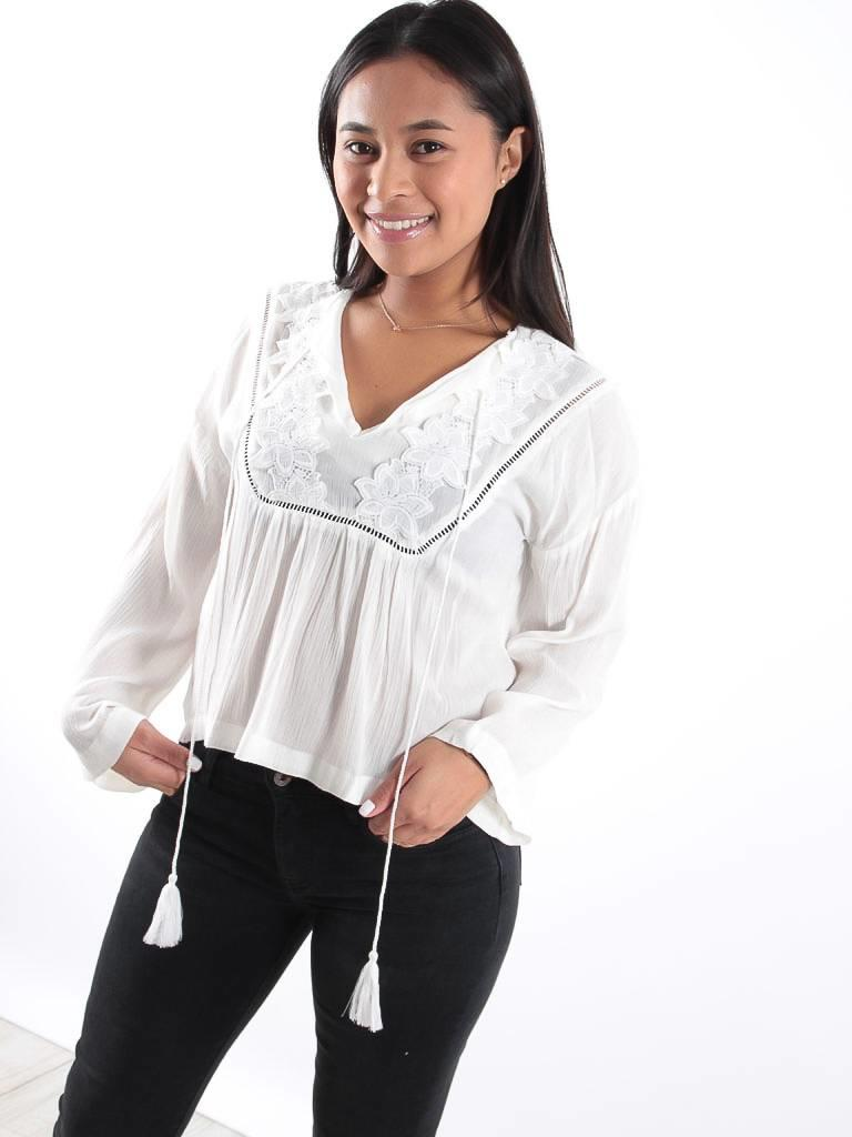 Eight White lace flower detail top
