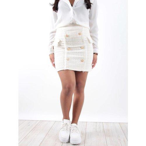 Drôle de Copine White tweed button detail mini skirt