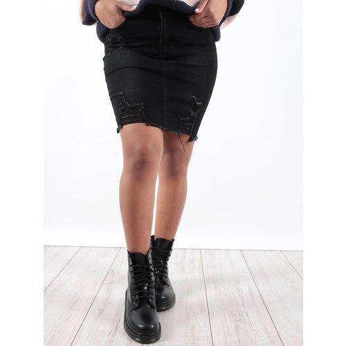 Girl Vivi Black distressed denim skirt