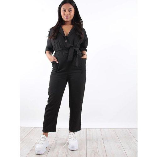 Lucy Wang Black tie waist pocket jumpsuit