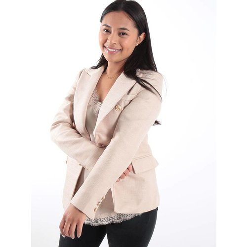 Beige tweed gold button detail blazer