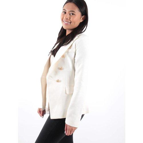 Attentif Creme tweed gold button detail blazer