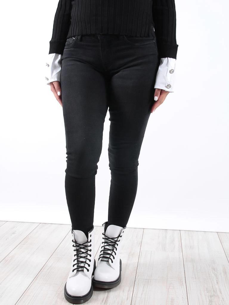 QUEEN HEARTS Skinny crop jeans fray hem zwart