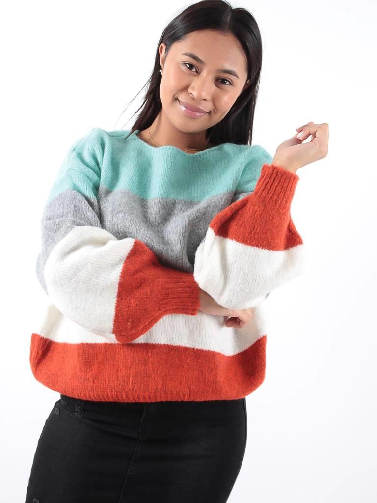 Kilky Knitted striped aqua jumper