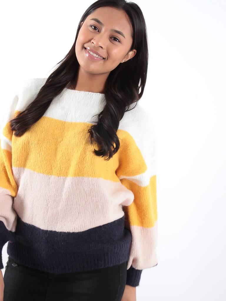 Kilky Knitted striped yellow jumper