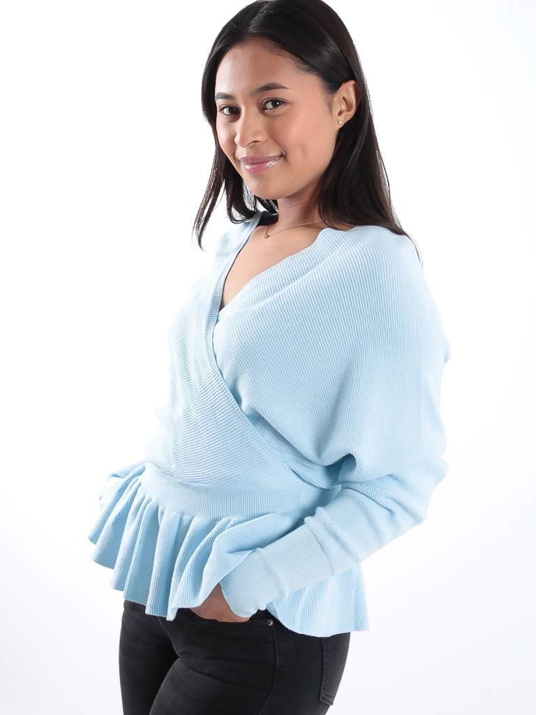 Kilky Blue knitted wrap jumper