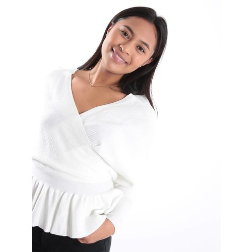 Kilky White knit wrap jumper