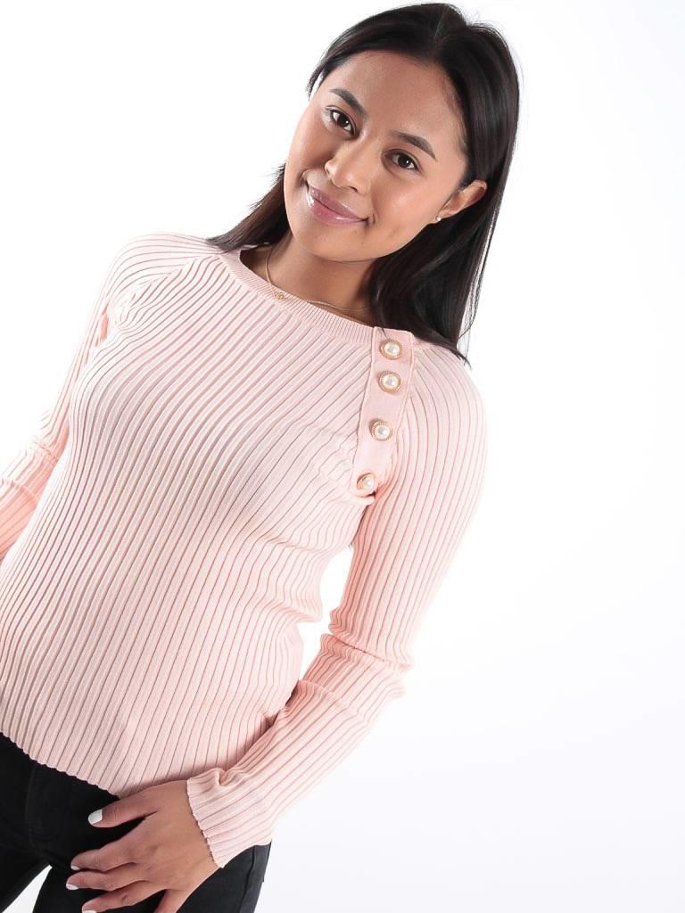 Drôle de Copine Pink rib knit pearl detail jumper