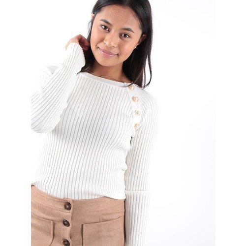 Drôle de Copine White rib knit button detail jumper