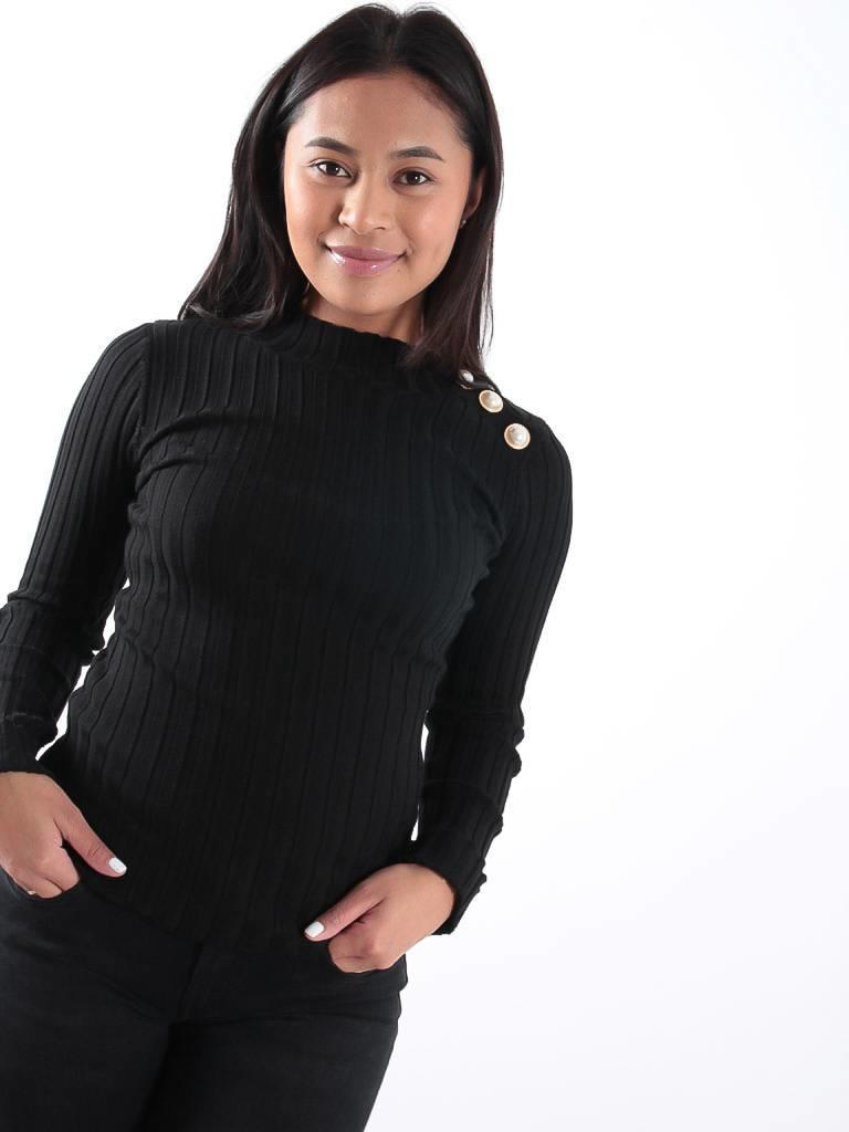 Drôle de Copine Black rib knit gold button detail jumper
