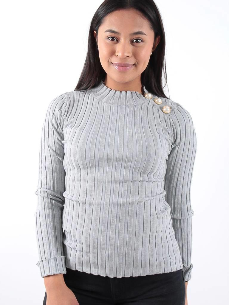 Drôle de Copine Grey rib knit gold button detail jumper