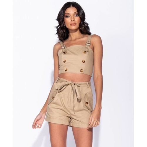 Ladylike Button detail buckle strap crop top camel
