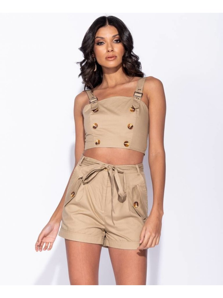 Ladylike Waist tie button detail short set camel