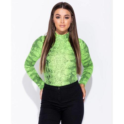 Ladylike Snake print high neck bodysuit green