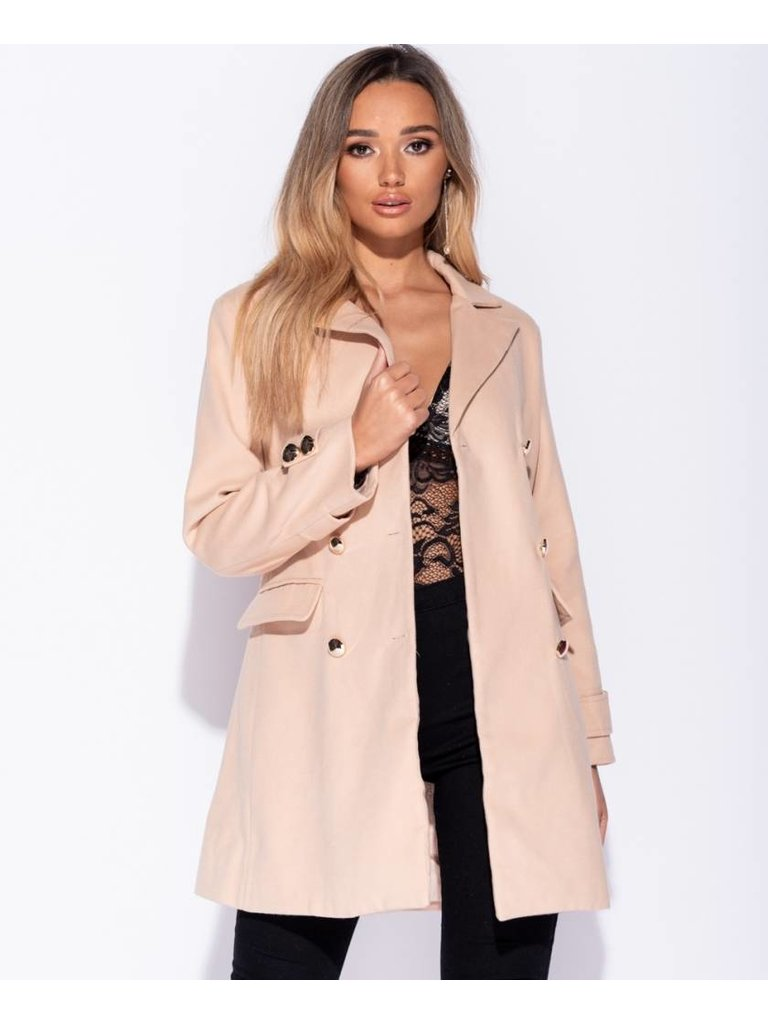 Ladylike Button detail trench coat camel