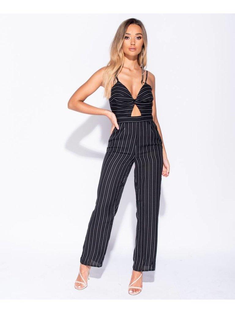 Ladylike Vertical stripe front twist cut out detail jumpsuit black
