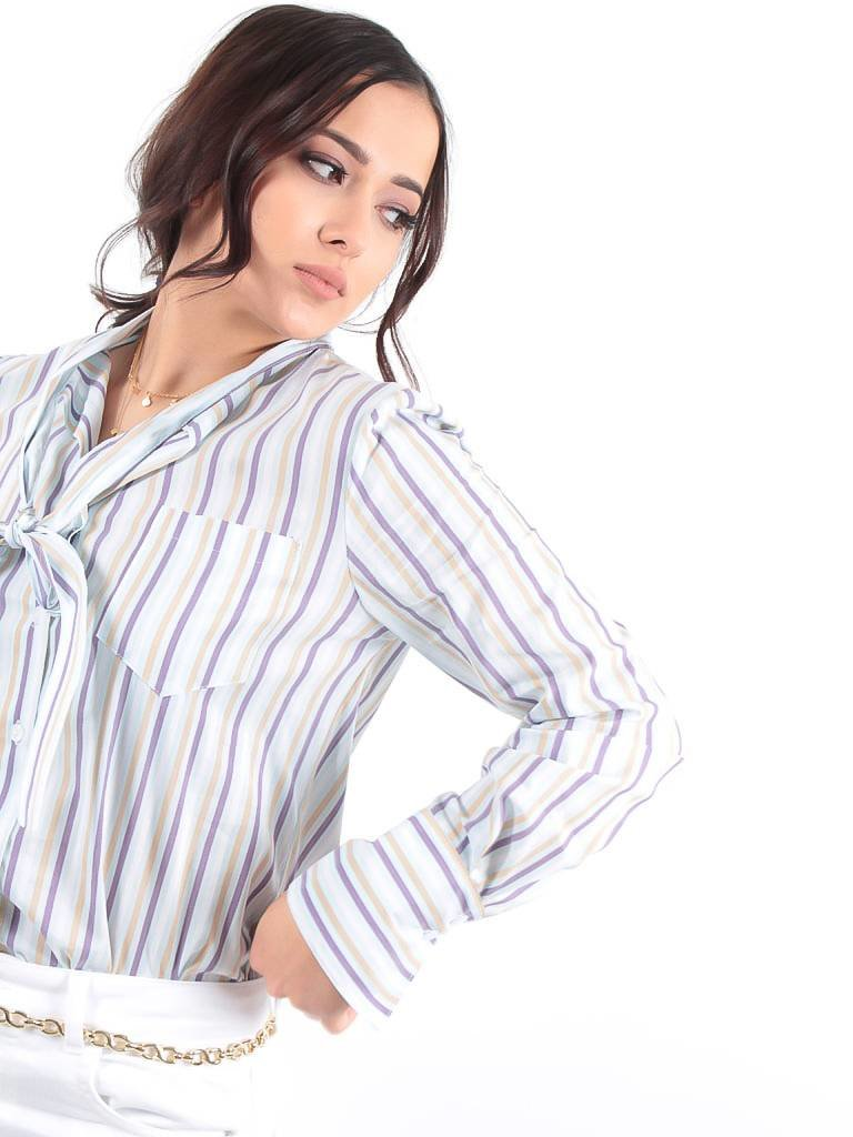 LADYLIKE FASHION Striped bow blouse blue