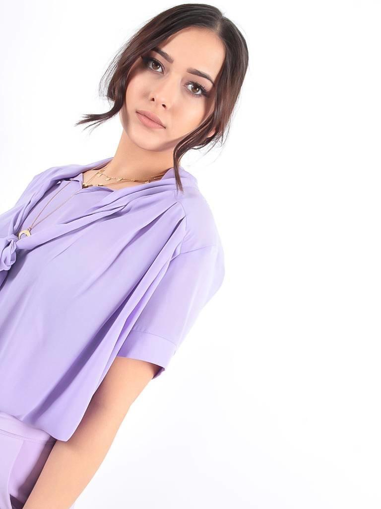 LADYLIKE FASHION Basic bow blouse lila