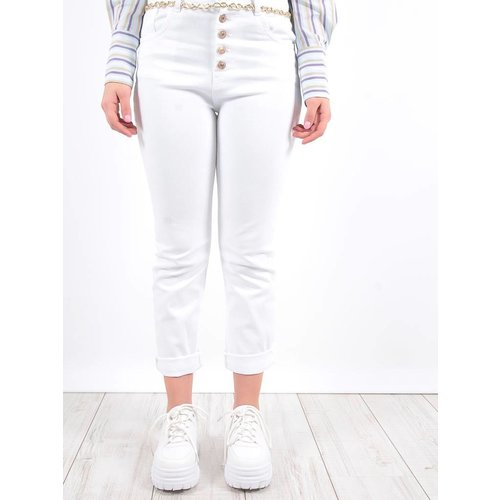 LADYLIKE FASHION Gold button jeans white