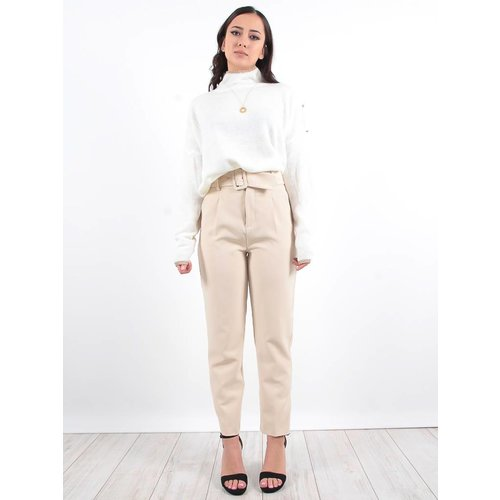 LADYLIKE FASHION Cream high neck jumper