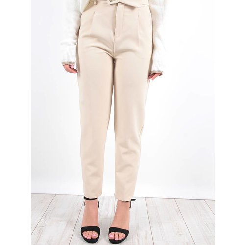LADYLIKE FASHION High waist trousers beige