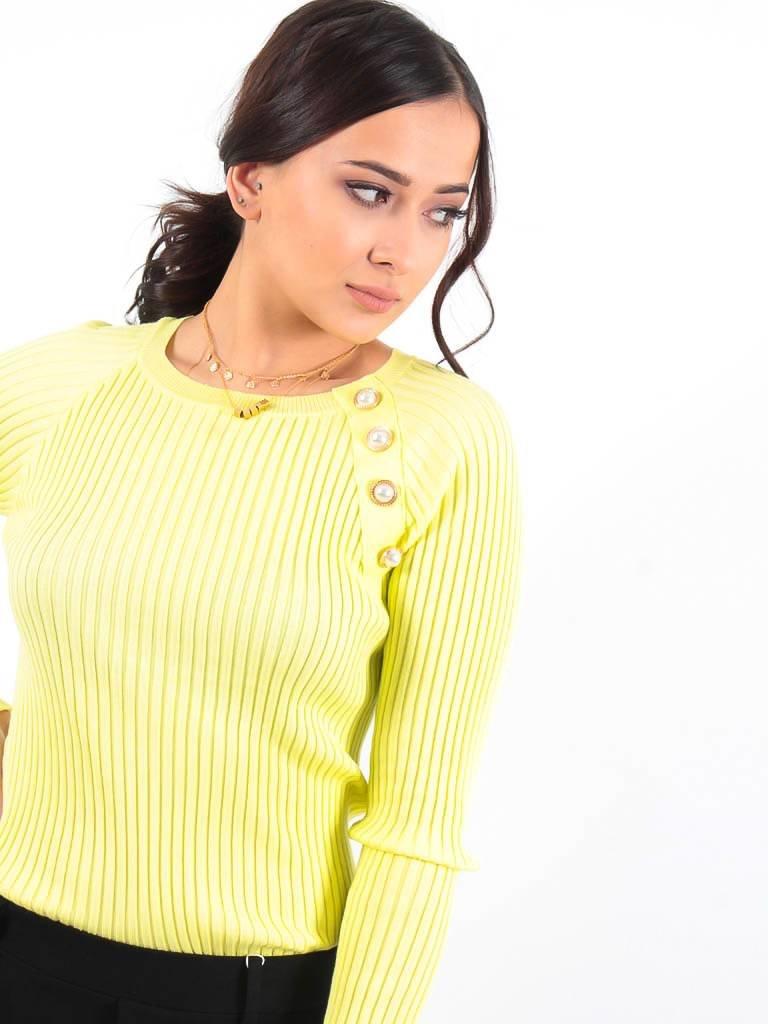 LADYLIKE FASHION Neon rib knit button detail jumper