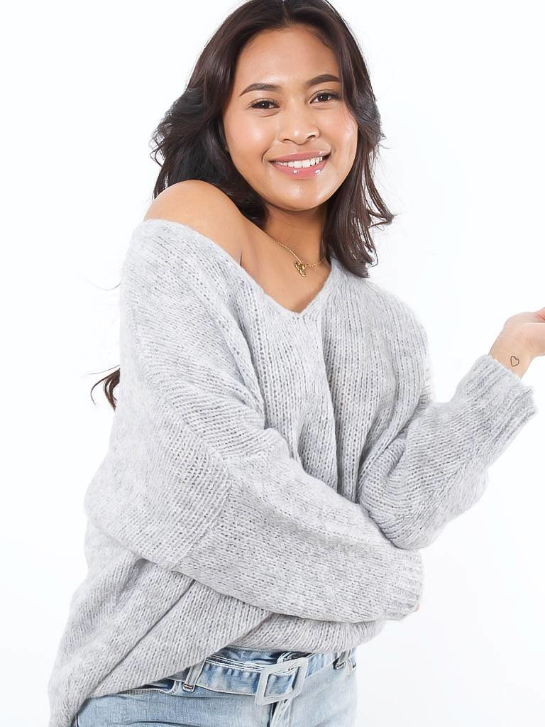 LADYLIKE FASHION V-jumper grey