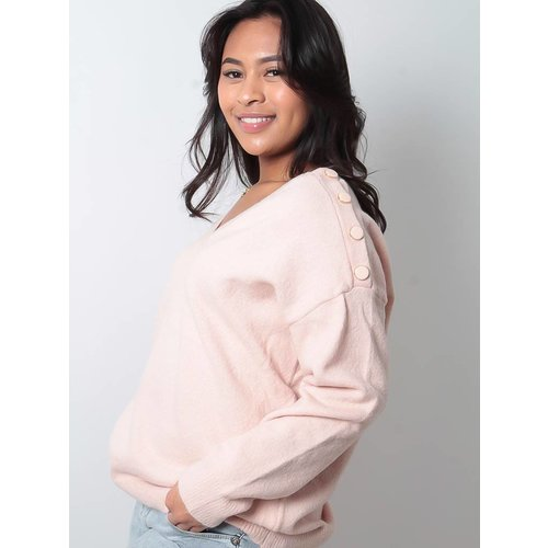 LADYLIKE FASHION Pink button detail  jumper