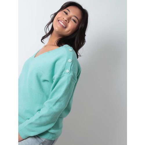 LADYLIKE FASHION Mint button detail jumper