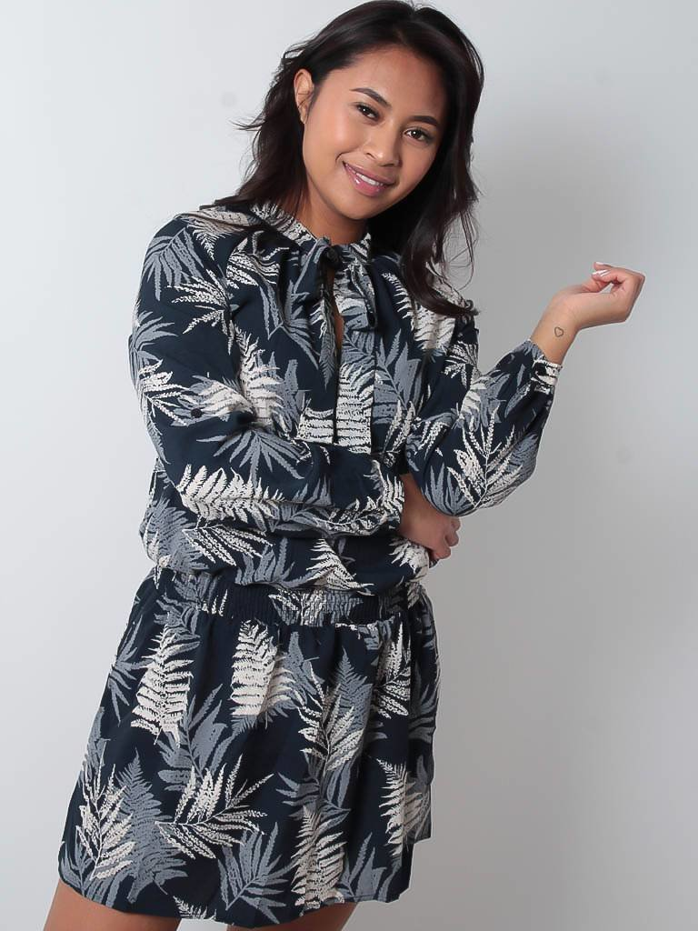 LADYLIKE FASHION Navy leaf print dress